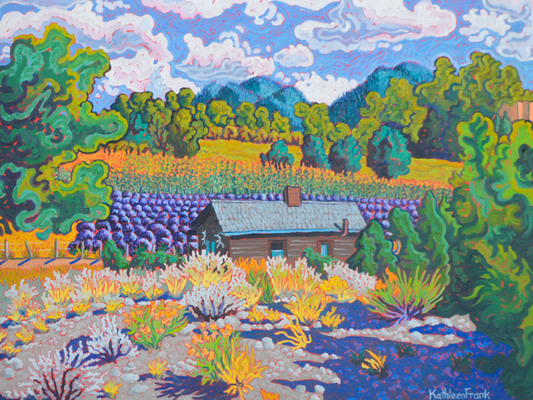 OLD SCHOOLHOUSE WITH LAVENDER AND CORN - LAS GOLONDRINAS